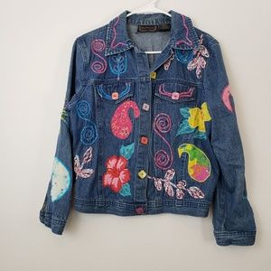 Vintage 90s Painted Embroidered Beaded Jean Jacket